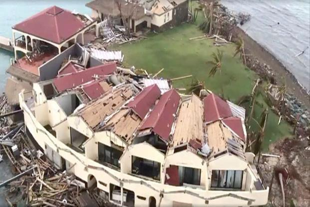 An aerial view of devastation following Hurricane Irma on Saba Rock, British Virgin Islands, on  September 8, 2017, is seen in this still image taken from social media video. Photo: Reuters