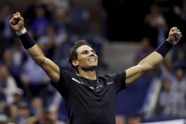 Rafael Nadal celebrates after beating Juan Martin del Potro during the semifinals of the US Open tennis tournament on Friday in New York. Photo: AP