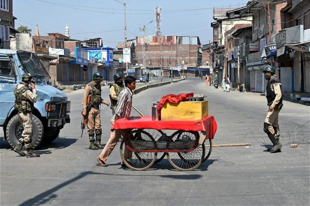 Restrictions under section 144 continued to remain in force in six police station areas of Srinagar on Sunday, the officials said. Photo: PTI