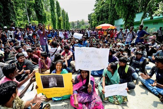 Loyola College students during their protest demanding justice for Anitha and urging the Central government to ban NEET, in Chennai on Wednesday. Photo: PTI