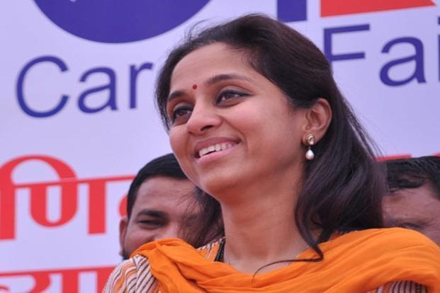 A file photo of NCP chief Sharad Pawar's daughter Supriya Sule. Photo: PTI
