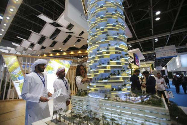 Exhibitors at the three-day Cityscape Global showed off models of high-end skyscrapers and even 'Floating Venice', a resort complete with underwater suites. Photo: AFP