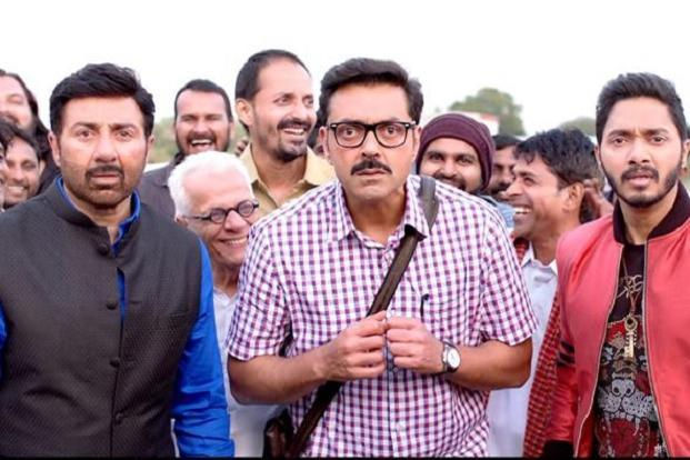 Sunny Deol, Bobby Deol (centre) and Shreyas Talpade in a still from 'Poster Boys'.