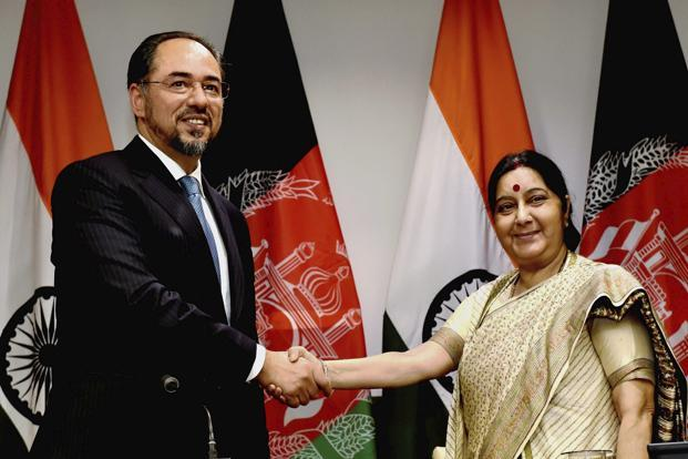 External affairs minister Sushma Swaraj with Salahuddin Rabbani, minister of foreign affairs of Afghanistan, before a meeting in New Delhi on Monday. Photo: PTI