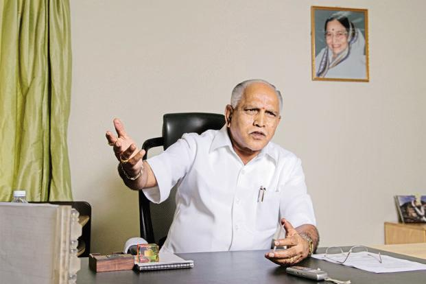 B.S.Yeddyurappa's apprehension not to take on the spiritual leader stems from the fact that the Lingayats-Veerashaiva combine is his largest support base and any split within the sect is bound to reduce his grip on the community and the BJP. File photo: Mint