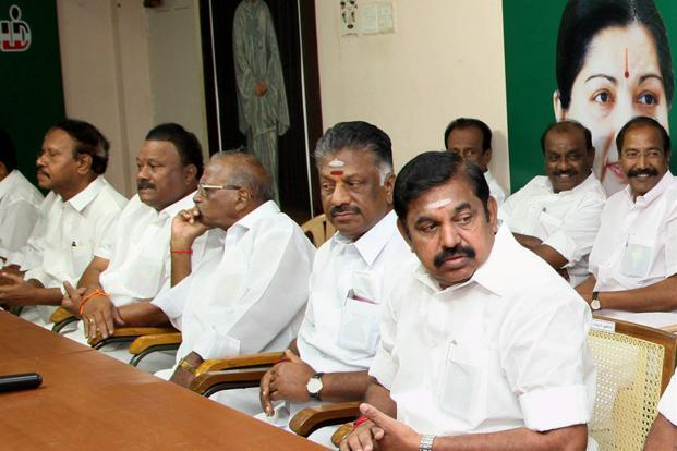 A file photo. Tamil Nadu chief minister K. Palaniswami (right) and deputy chief minister O. Panneerselvam at an AIADMK party meet in Chennai. Photo: PTI