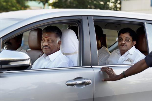 Tamil Nadu deputy chief minister O. Panneerselvam leaves after inspecting the venue of AIADMK general council meeting at Srivari Kalyana Mandapam on the outskirts of Chennai on Monday. Photo: PTI
