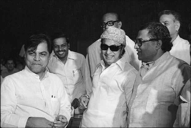 Former Tamil Nadu CM and AIADMK founder M.G. Ramachandran (centre), popularly known as MGR. Photo: HT