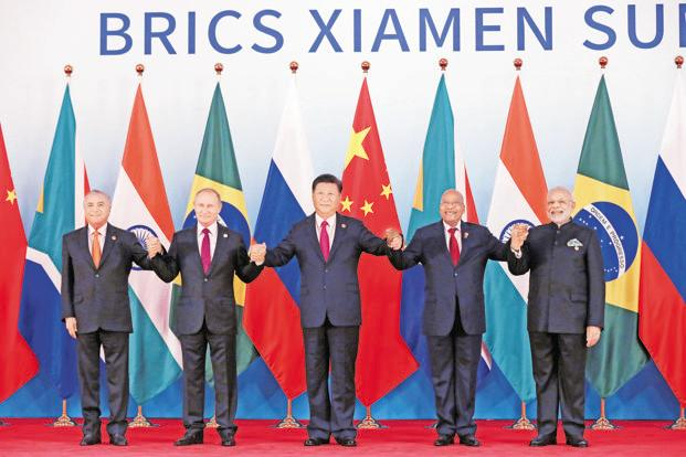 (From left) Brazil's President Michel Temer, Russian President Vladimir Putin, Chinese President Xi Jinping, South Africa's President Jacob Zuma and Indian Prime Minister Narendra Modi at the BRICS Summit in Xiamen, China, on 4 September. India confirmed Modi's presence at the summit a day after India and China announced their military disengagement. Photo: AP