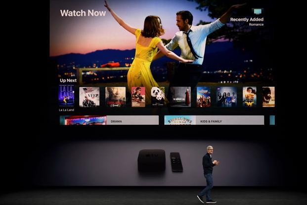 Apple CEO Tim Cook speaks about Apple TV during a media event at Apple's new headquarters in Cupertino California on 12 September 2017