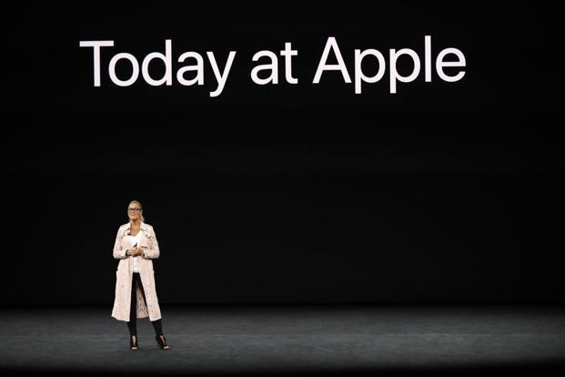 Apple senior vice president of Retail, Angela Ahrendts, speaks during a product launch event in Cupertino, California on Tuesday. Photo: Reuters