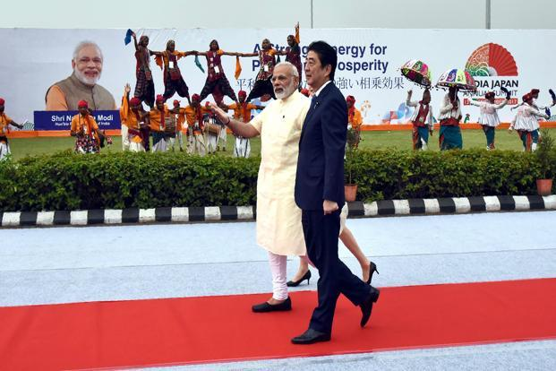 Japanese PM Shinzo Abe is currently on a two-day India visit for the annual Indo-Japan summit. Abe was received by PM Narendra Modi in Ahmedabad on Wednesday. Photo: AFP