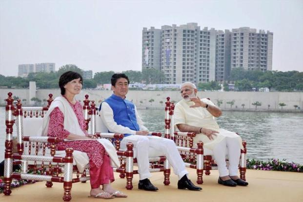 Prime Minister Narendra Modi, Japanese Prime Minister Shinzo Abe and his wife Akie Abe at the Sabarmati riverfront in Ahmedabad on Wednesday. Photo: PTI