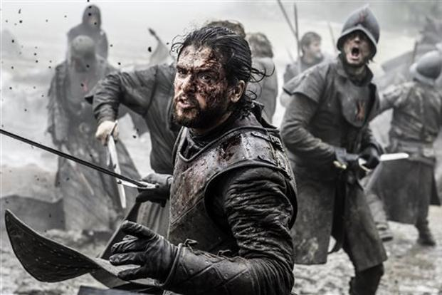 Actor Kit Harington, who plays Jon Snow in Game of Thrones, previously revealed that he spent 15 hours filming fake scenes for the last season. Photo: AP