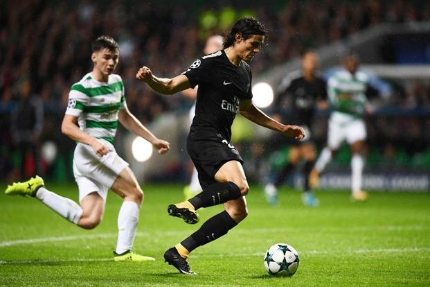 Paris Saint-Germain's Edinson Cavani, one third of the Parisians' 'MCN' forward line, in action against Celtic in Glasgow on 12 September. Photo: AFP