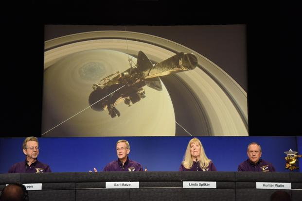 Members of the Nasa Cassini Mission Team speak at an end of mission preview news briefing on 13 September 2017, at NASA's Jet Propulsion Laboratory in Pasadena, California. Team members. Photo: AFP