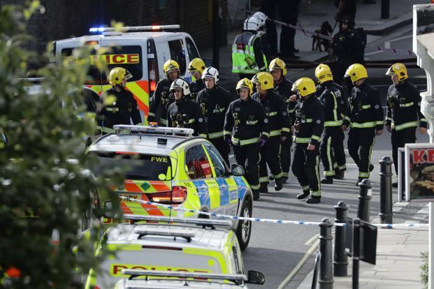 Members of the emergency services work near Parsons Green tube station in London, Britain on Friday. Photo: Reuters
