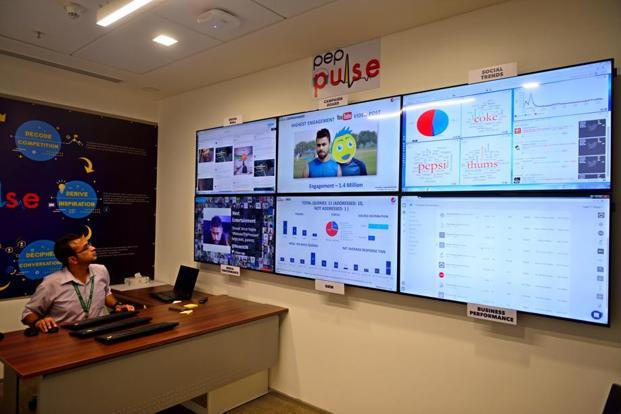 Digital command centre for social listening. Photographs by Pradeep Gaur/Mint