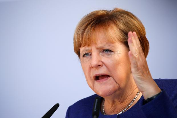 German Chancellor Angela Merkel speaks during an election rally in Binz, on 16 September. Photo: Reuters