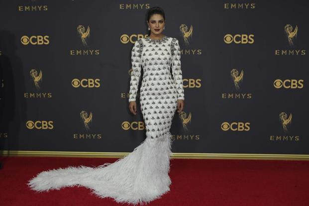 Priyanka Chopra poses on arrival at the 69th Primetime Emmy Awards, Los Angeles. Photos: Reuters