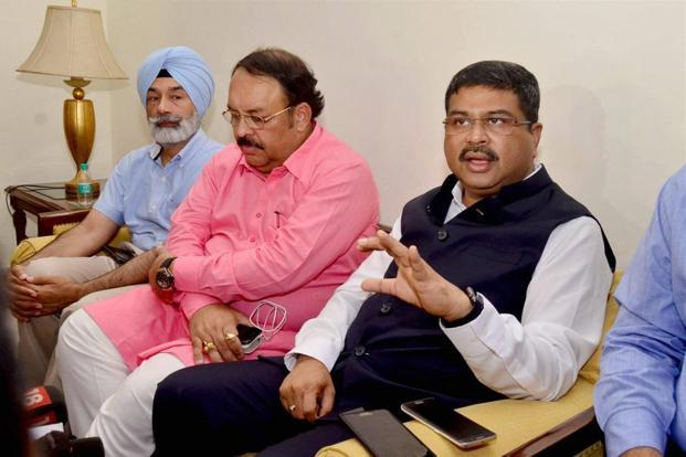 Union minister of petroleum and natural gas, Dharmendra Pradhan addresses media after attending a meeting with oil marketing companies (OMC) officials, in Amritsar on Monday. Photo: PTI