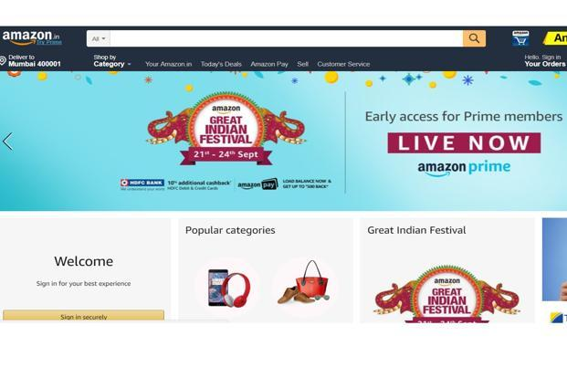 Amazon Great Indian Festival starts a day after Flipkart begins its Big Billion Days sale.