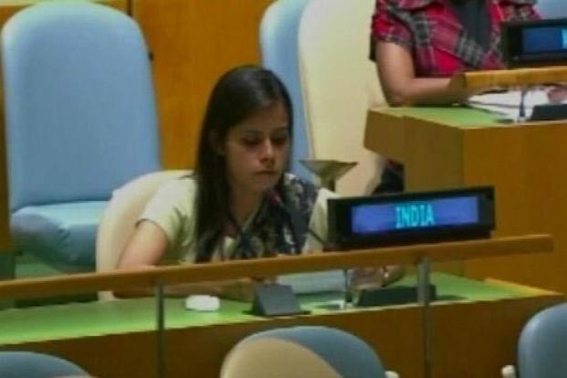 A TV grab of Eenam Gambhir, India's 1st secretary in the Permanent Mission of India to the UN. Gambhir says it is extraordinary that the state which protected Osama Bin Laden and sheltered Mullah Omar should have the gumption to play the victim.