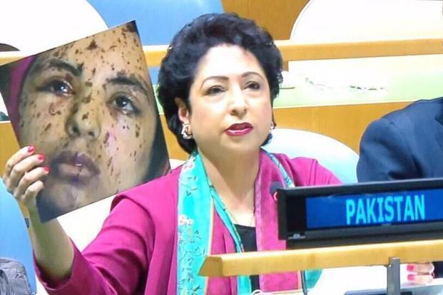 The 2014 photograph which Pakistan presented before the United Nations is that of a victim of an Israeli attack in Gaza and is available across the internet. Photo: Twitter