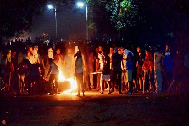 Students allegedly indulged in arson during the clashes with the police at BHU in Varanasi, late Saturday night.