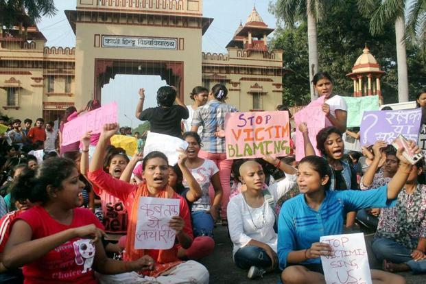 Students of BHU protest against the molestation of a student inside the campus, in Varanasi on Saturday.