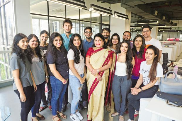 Nykaa founder Falguni Nayar with her team. Photo: Abhijit Bhatlekar/Mint