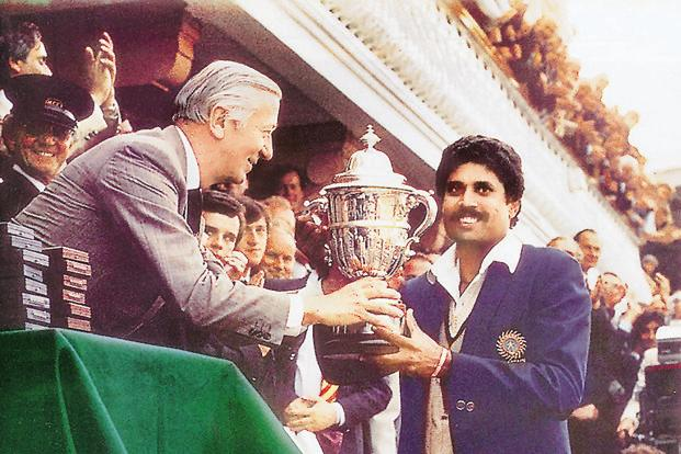 India captain Kapil Dev receiving the 1983 World Cup trophy. Photo: HT