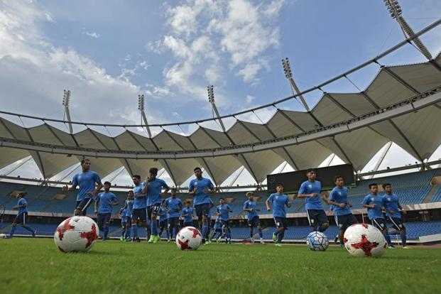 India's U-17 World Cup players during a practice session in Delhi in July. Photo: Ravi Choudhary/Hindustan Times