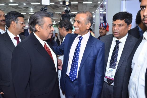 Reliance Jio's Mukesh Ambani and Bharti Airtel chairman Sunil Mittal at the India Mobile Congress on Wednesday.