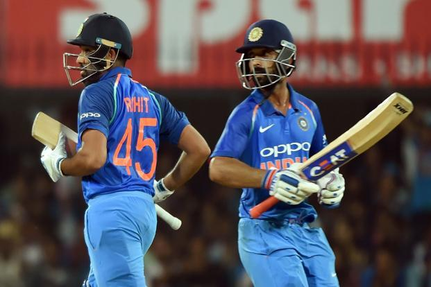 Rohit Sharma (left) and Ajinkya Rahane are opening the batting for India in the ongoing ODI series against Australia. Photo: AFP