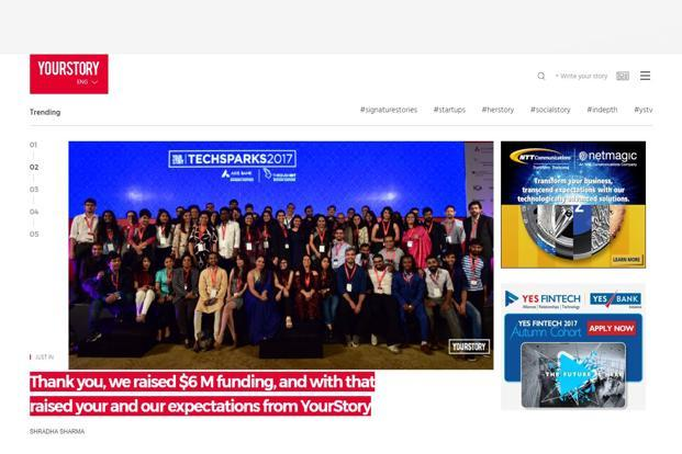 The funding comes after the company launched YourStory in Germany in August, its first expansion outside India.