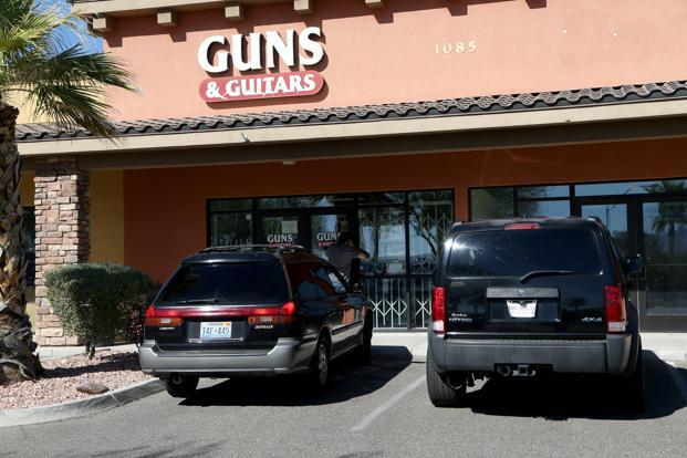 Guns & Guitars, where suspected Las Vegas gunman Stephen Paddock allegedly purchased firearms. Photo: AFP