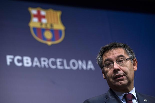FC Barcelona president Josep Maria Bartomeu speaks during a press conference at the Camp Nou stadium in Barcelona on 2 October. Photo: AFP