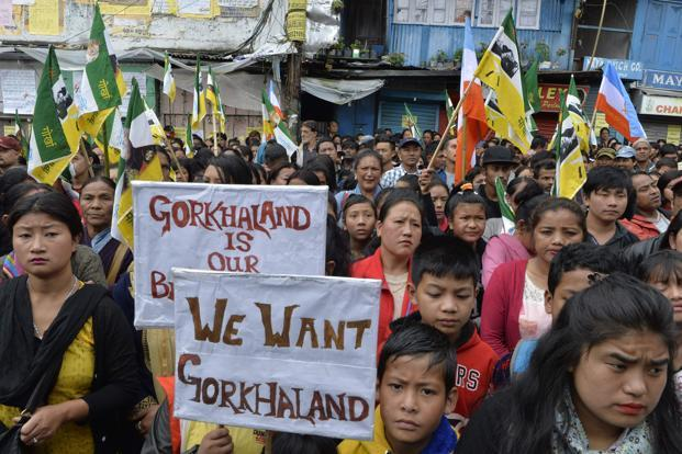 A file photo shows supporters of the Gorkha Janmukti Morcha (GJM) taking part in a protest in Darjeeling. Photo: AFP (AFP)