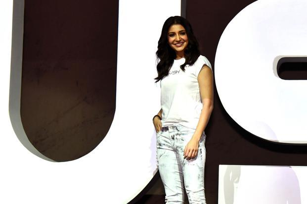 Anushka Sharma at the launch of her new apparel line Nush in Mumbai on Tuesday. Photo: AFP