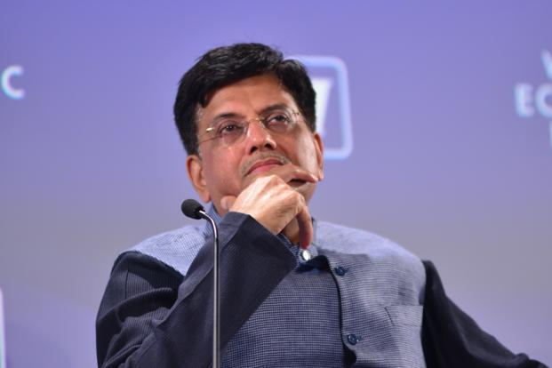 Railway minister Piyush Goyal at the opening session of the Indian Economic Summit. Photo: Ramesh Pathania/Mint