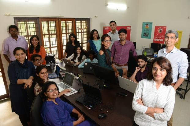 Rizwan Tayabali (right in the background) with the team at Make a Difference. Photo: Hemant Mishra/Mint