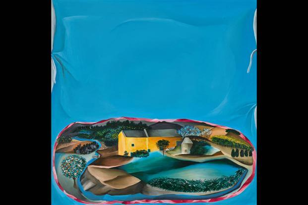 'Howard Hodgkin's House On Hand Painted Cushion' by Bhupen Khakhar, estimated at £100,000-150,000. Courtesy Sotheby's