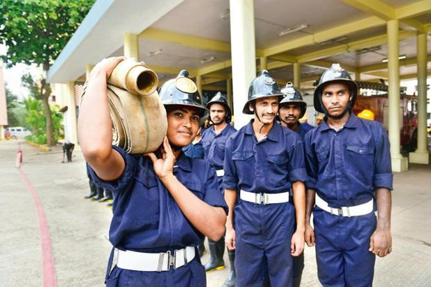 A training drill at the Wadala fire station.