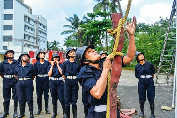 A training drill for firewomen at the Wadala fire station.