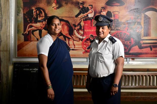 Assistant station officers Sunita Patil (left) and Shubhangi Bhor at the Byculla fire station. Photographs by Aniruddha Chowdhury/Mint