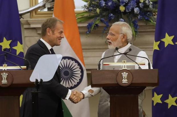 Prime Minister Narendra Modi with president of the European Council Donald Tusk. Photo: AP/Manish Swarup