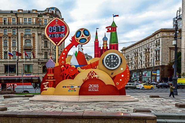 A clock at Manezhnaya Square, Moscow, marking the countdown to World Cup 2018. Photo: Alamy