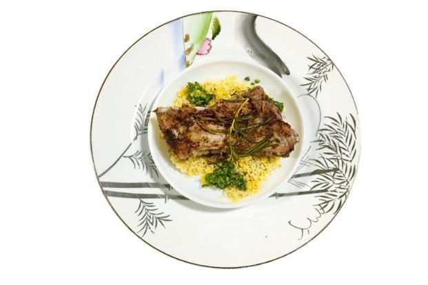 Pork ribs on a bed of foxtail millet with pesto. Photo: Samar Halarnkar