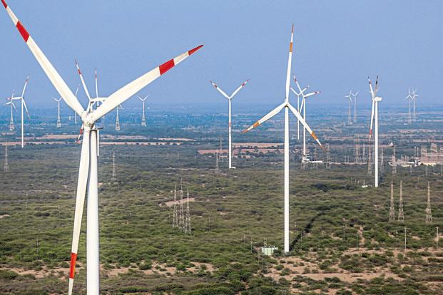 India has a target of installing 175,000MW of renewable energy by 2022. Of this, 100,000MW is to be generated by solar projects and 60,000MW by wind projects. Photo: Bloomberg
